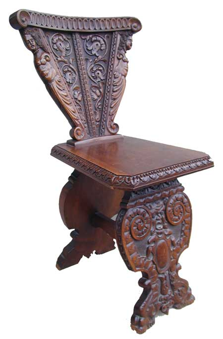 Village Antiques: Sculpted Renaissance Style Chair  19th Century